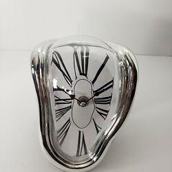 Wall Clock Surrealist Salvador Dali Style Distorted Melting Silver Mantel Rare