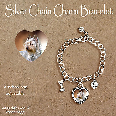 YORKIE SILKY YORKSHIRE TERRIER - CHARM BRACELET SILVER CHAIN & HEART