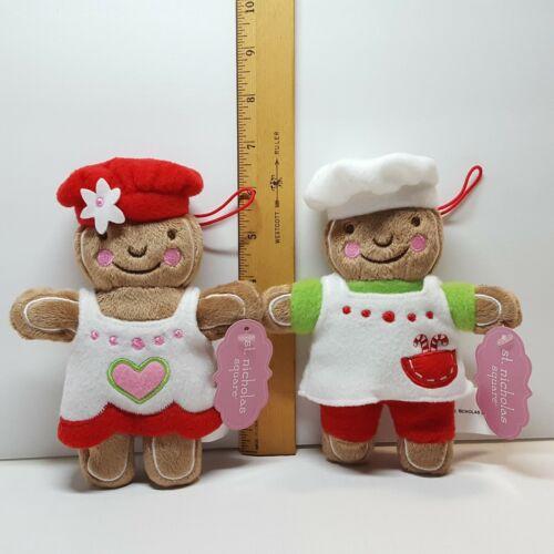 "(2) KOHLS St Nicholas Square Sweet Treats 6.5"" GINGERBREAD Plush Doll Ornaments"
