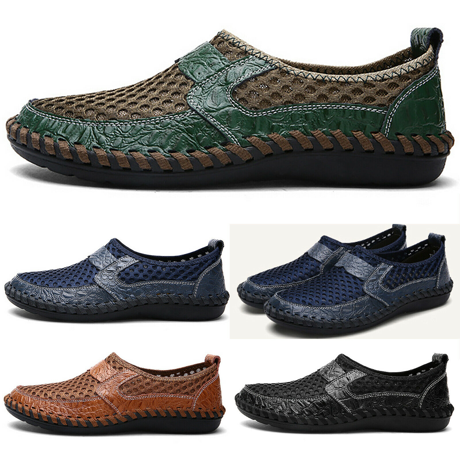 Men Leather Driving Casual Boat Shoes Moccasin Slip On Summer Loafers Size 7-12 1