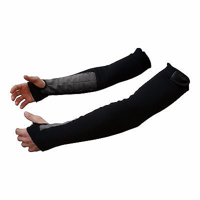 "22"" Black Kevlar Protective Arm Sleeves (1 Pair) Made With Kevlar"