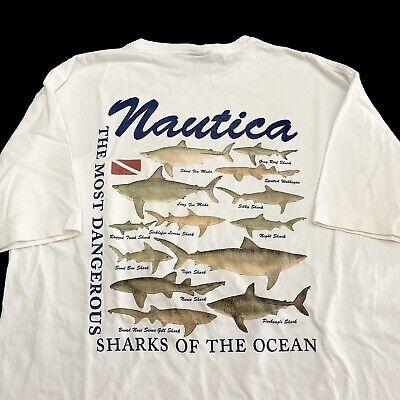 Vintage 90s T Shirt Large Nautica USA Dangerous Sharks Animal Graphic Men's