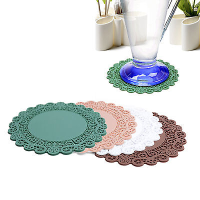 FLAITO Silicone Lace Cup Coasters 4pc Glass Pad Rack Place Mat Tableware Holder