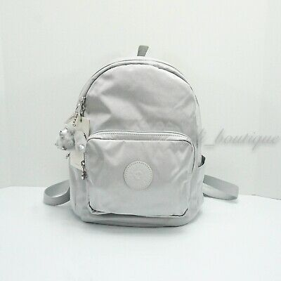 NWT Kipling KI0557 Malcom Small Backpack Shoulder Bag Polyamide Silver Grey $114