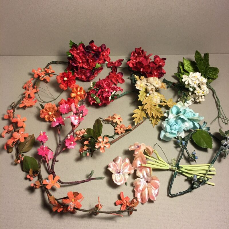 Vintage Millinery Flower Lot Assorted Velvet & Others