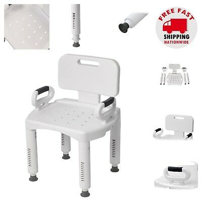 Shower Chair with Back Arms Adjustable Height Bath Tub Seat Non Slip Safe (Bath Safe Adjustable Shower Seat)