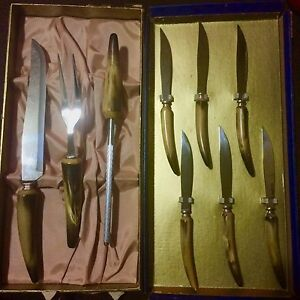 Marble handled carving set - never been used