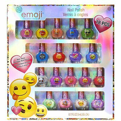 Emoji Kids Washable Super Sparkly Peel-Off Nail Polish Deluxe for Girls, 18PCS - Emoji For Girls