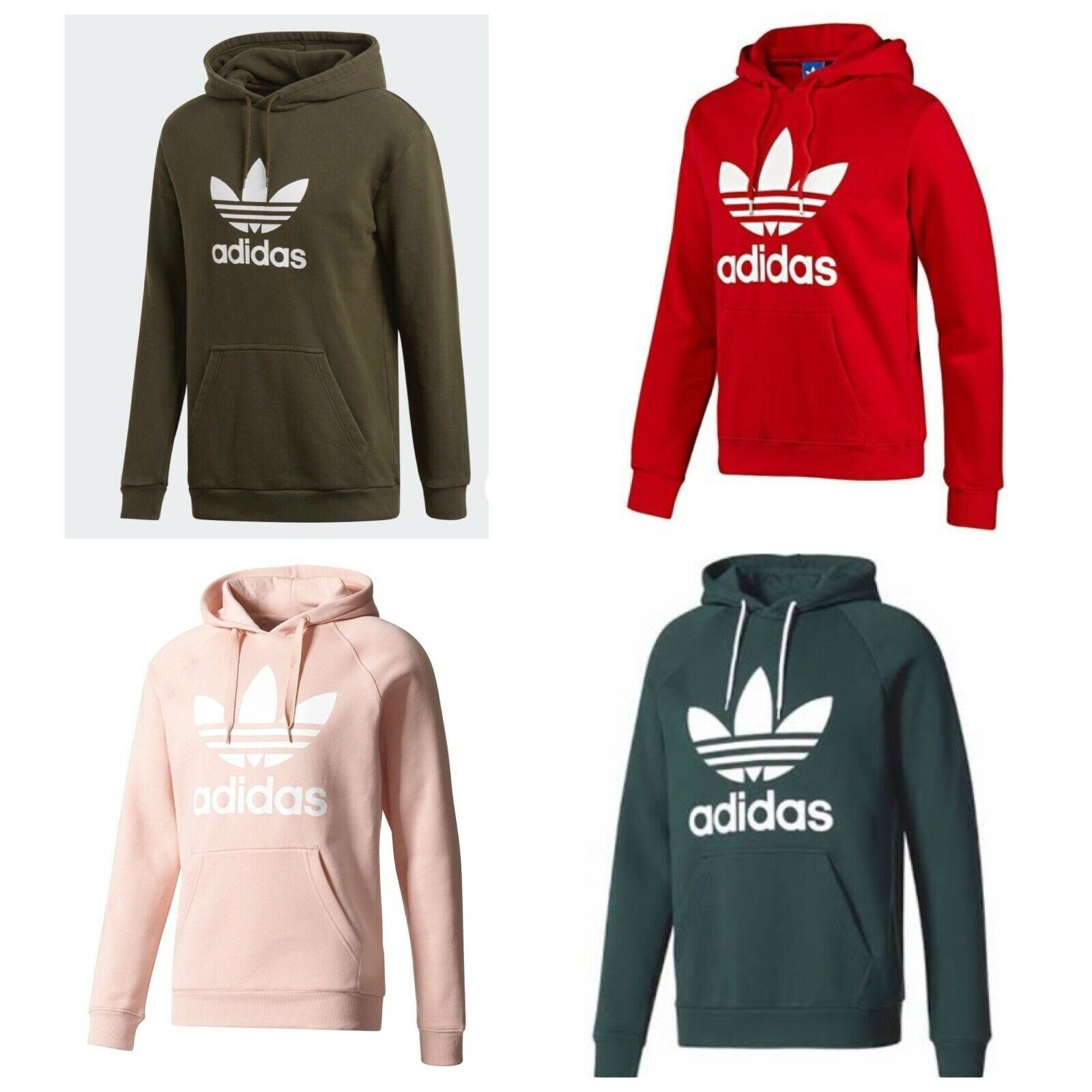 Adidas Herren Originals Trefoil Fleece Kapuzenpullover Hooded Sweatshirt