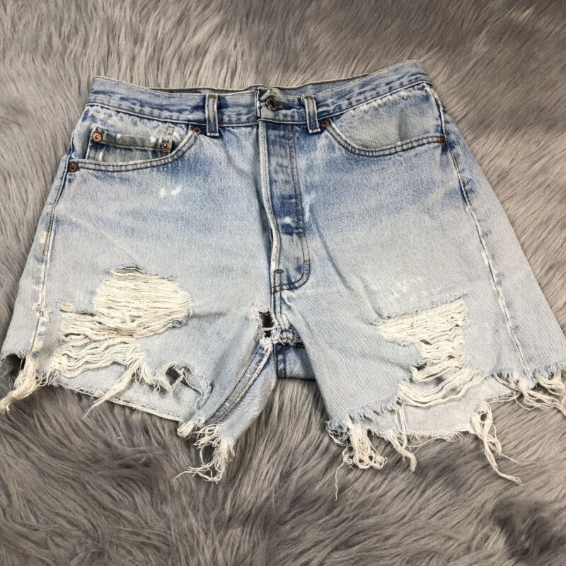 Vintage Womens Levis Made Usa Distressed Frayed Torn Cut Off Shorts Button Fly