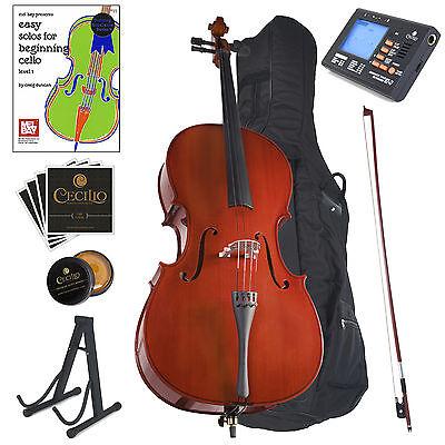 Cecilio Student Cello 4/4 3/4 1/2 1/4 1/8 +Tuner+Lesson Book+Stand (Student 2 Cello)