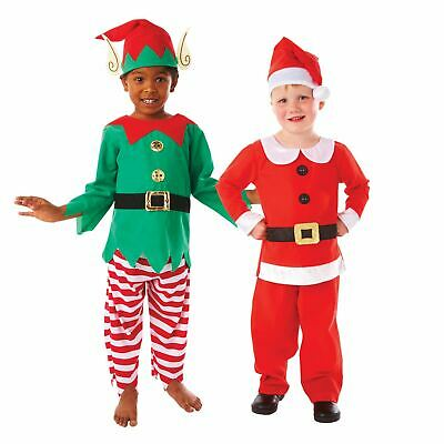 Christmas Girls Boys Kids Santa Elf Workshop Grotto School Fancy Dress Costume