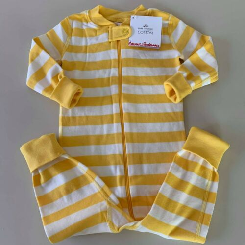 "HANNA ANDERSSON Girls / Boys Yellow ""STRIPED"" Pajama, 18-24 Months. So Comfy!"