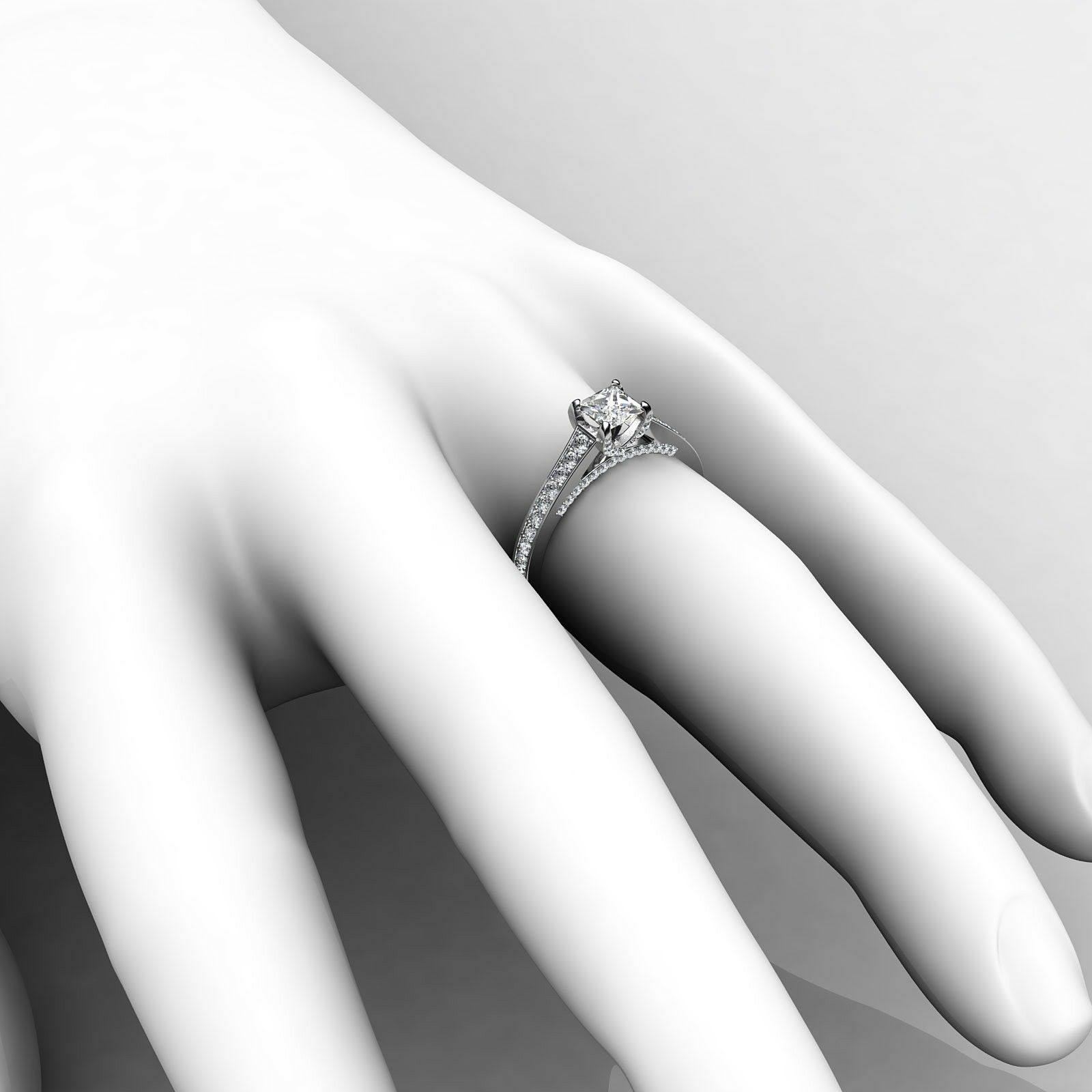 1.46ctw Tapered Pave Princess Diamond Engagement Ring GIA G-VS2 White Gold Rings 4