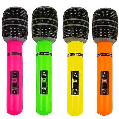 Neonfarbene Kostüme (4 Neon farbene aufblasbare Mikrofone 66 cm Kostümzubehör Dekoration aufblasbar)