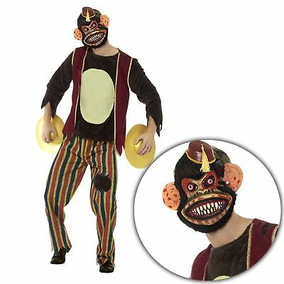 Adult Mens Creepy Circus Zombie Monkey Halloween Costume with Cymbals Game Ops](Circus Monkey Costume)