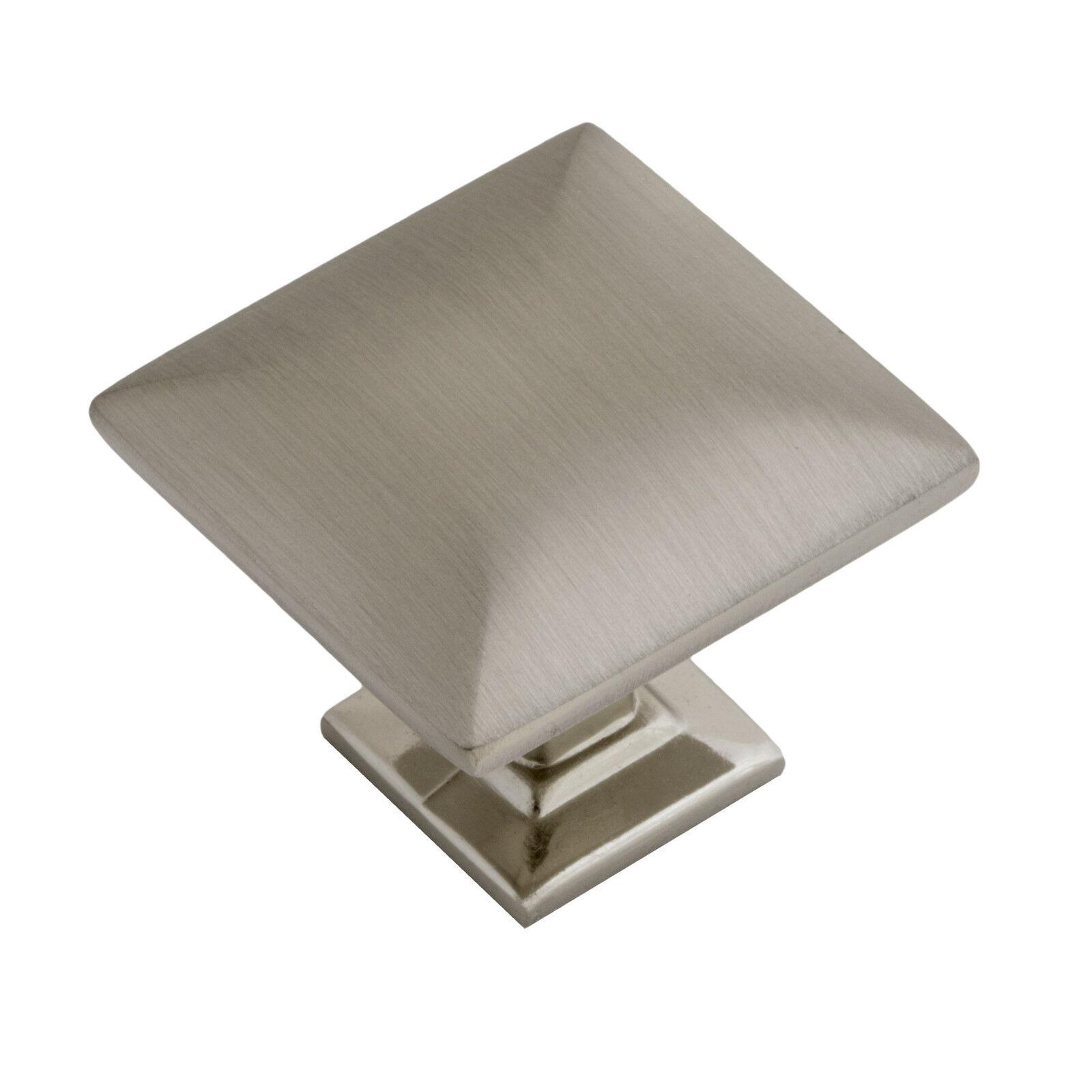 Modern Pyramid Square Kitchen Cabinet Hardware Knob 1 1/4″, Satin Nickel Building & Hardware
