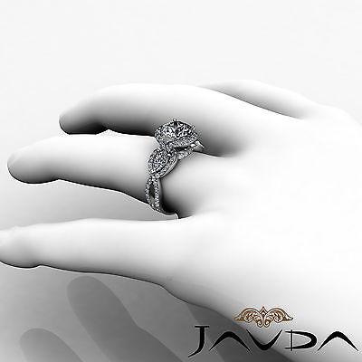 3 Stone Halo Cross Shank Pave Set Round Diamond Engagement Ring GIA F SI1 2.4Ct 4