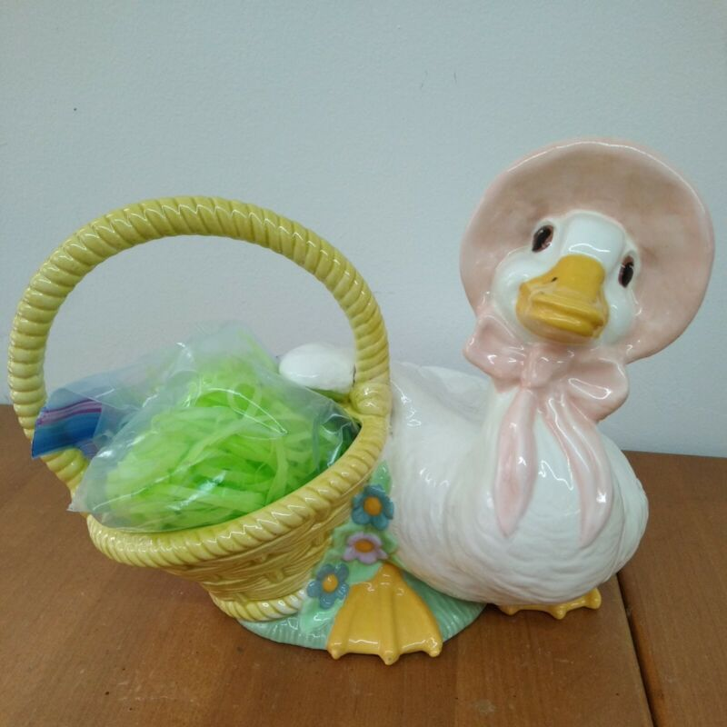 1981 Large 12 x 9 Mother Goose with Easter Basket ceramic
