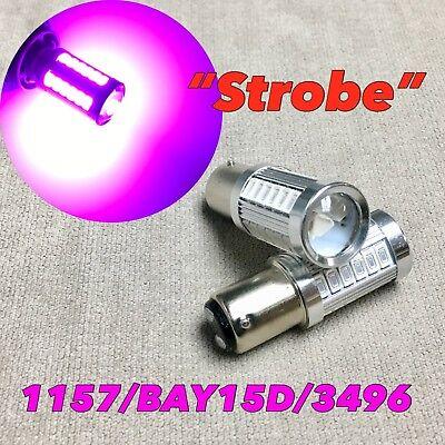 Purple Strobe Light (Strobe Front Turn Signal Light 1157 2057 3496 7528 BAY15D Purple LED Bulb W1)