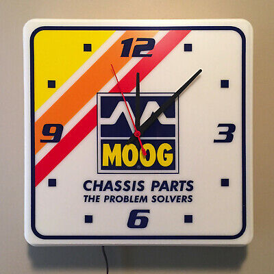Vintage Moog Chassis Parts Problem Solvers Advertising Lighted Clock Sign NIB