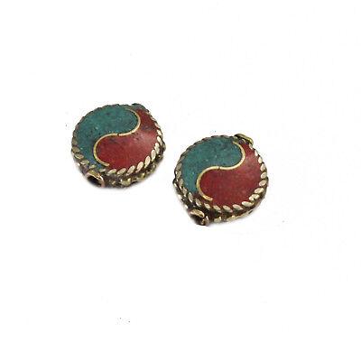 Turquoise Coral Brass 2 Beads Tibetan Nepalese Handmade Tibet Nepal UB2442