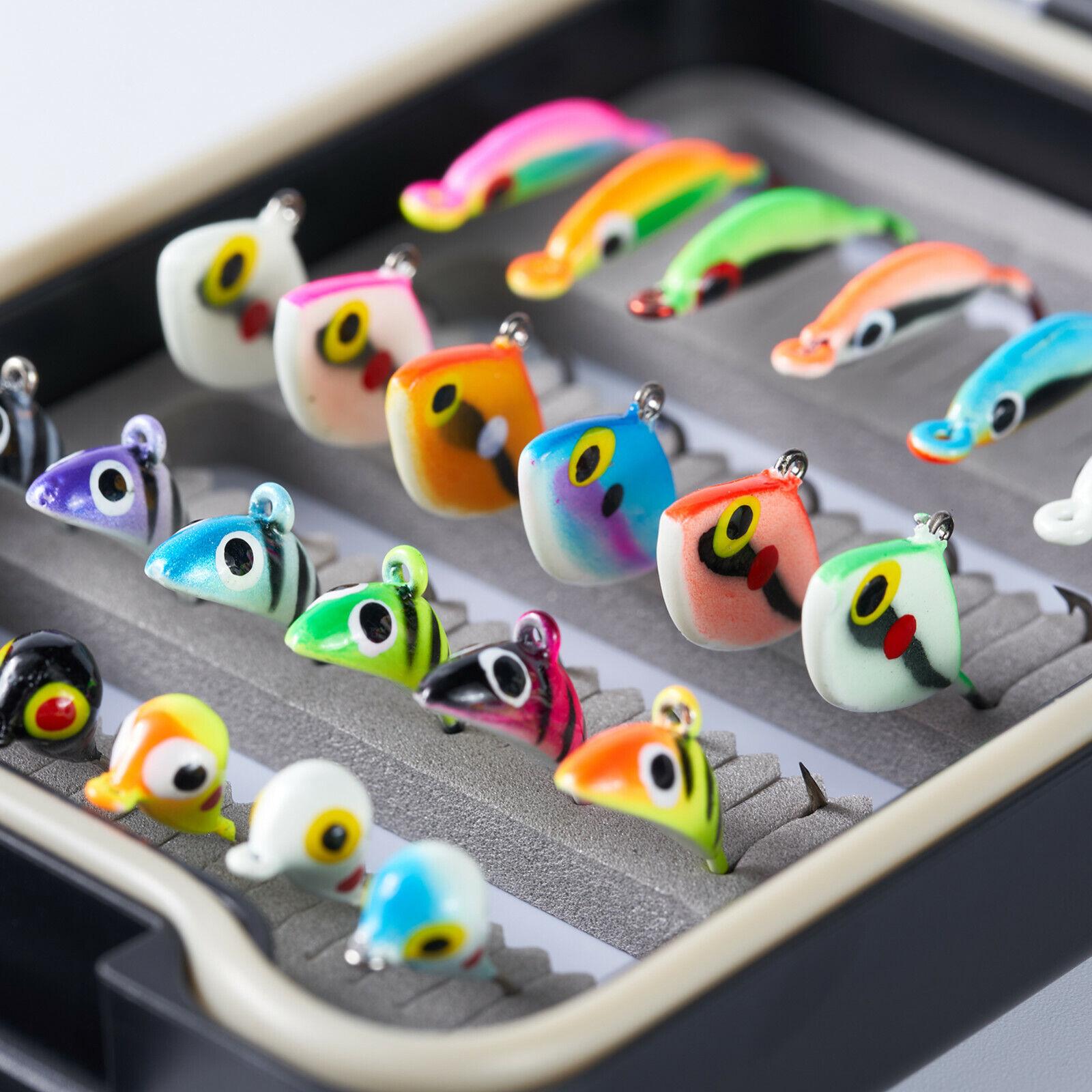 Bassdash Ice Fishing Jigs lead Jig Glow Winter Jigging Color Lures 4 types 24Pcs