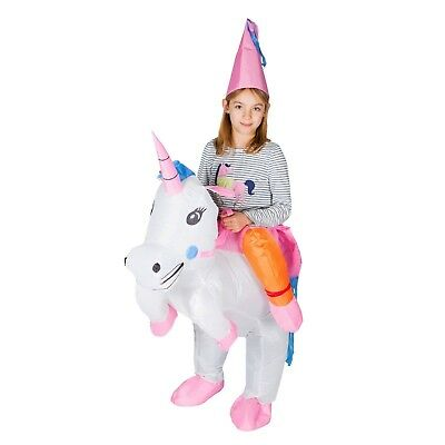Kids Inflatable Unicorn Ride Me Carry On Costume Outfit Suit Halloween One Size