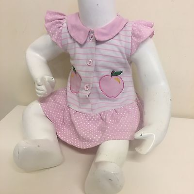 Little Me Baby Girls Pink White Striped Spotted Frily Sleeve Dress 9-12 Months