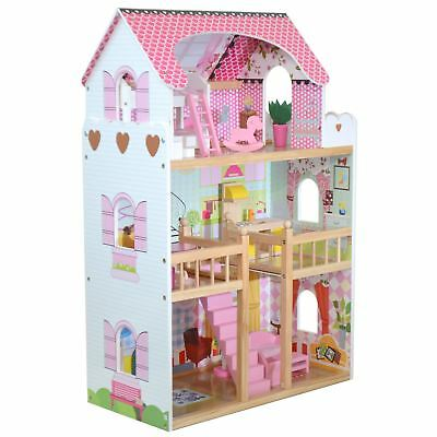 boppi® Toy Wooden Girls Dolls House 3 Storey Town Mansion+ Furniture Accessories
