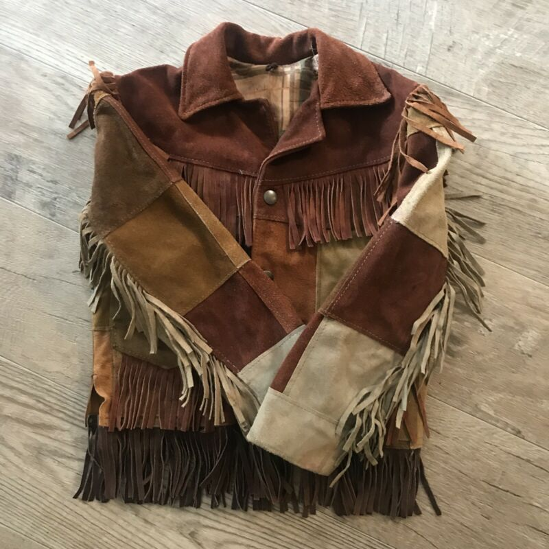 Vintage Cowboy Kids Fringed  Rust Brown Suede Leather Jacket Coat Western 5/6