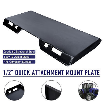 12 Skidsteer Quick Tach Attachment Mount Plate Steel For Kubota Bobcat Trailer