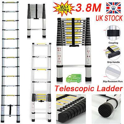 3.8M 12.5FT Multi-Purpose Aluminium Telescopic Ladder Extendable Step Folding