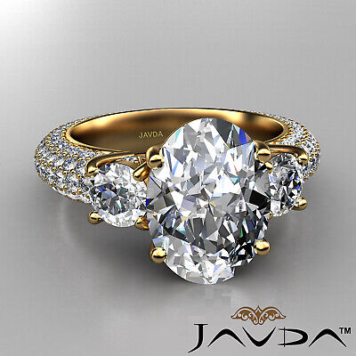 Women's 3 Stone Pave Set Oval Cut Diamond Engagement Ring GIA F Color VS2 3.8Ct 5