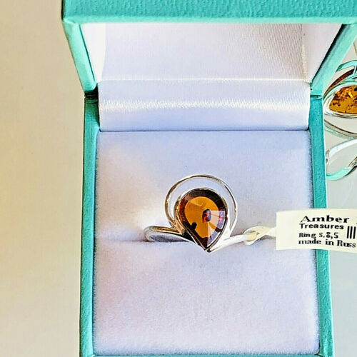 Genuine Russian Baltic Amber Ring Size 7,5 or 6,5 Butterscotch Vintage Polish