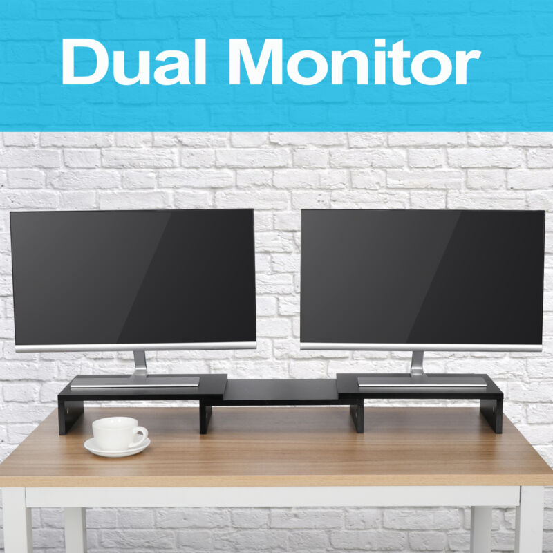 3 Shelf Monitor Stand Riser w/ Adjustable Length and Angle Computer TV PC Stand