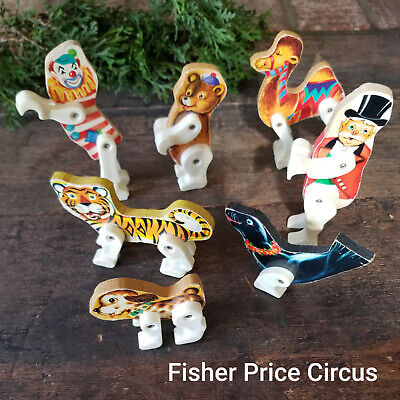 Toys ! Fisher Price Wooden Circus Animals Clown Ringmaster 1960's Litho finish