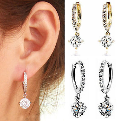 Fashion Women Crystal Rhinestone Silver/Gold Plated Hoop Earring Jewelry Gift NE