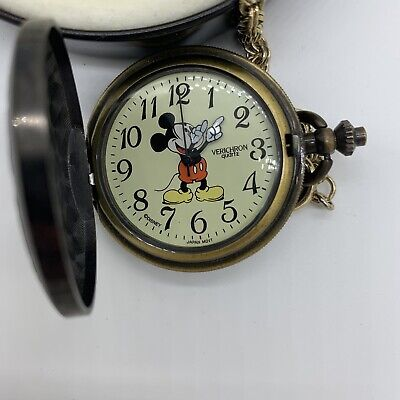 Disney Mickey Mouse Unlimited Verichron Quartz Train Hand Car Pocket Watch tin