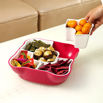 Fruit Snack Plate - Candy Dried Fruit Snack Dish Plate With 5 Separated Compartments & Lid for Party