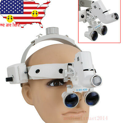 White 3.5x Dental Headband Binocular Loupes Surgical Glasses W Led Light Lamp