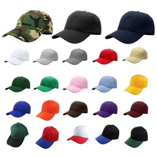 Plain Blank Solid Adjustable Baseball Cap Hats (ship in BOX!)