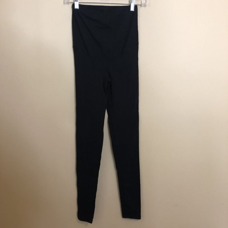H&M Mama Maternity XS Extra Small Leggings Pants Basic Black Over Belly Panel