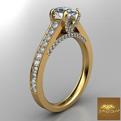 Bridge Accent Oval Diamond Engagement Cathedral Ring GIA Certified F VVS1 1.25Ct 6