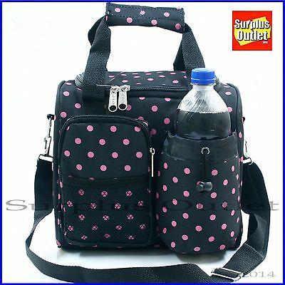 Large Polka Dot Insulated Lunch Bag With Adjustable Strap and Removable Liner