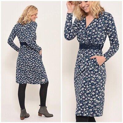 Brakeburn Navy Blue Cotton Snowdrop Wrap Dress Floral Pattern Size 16 BNWT