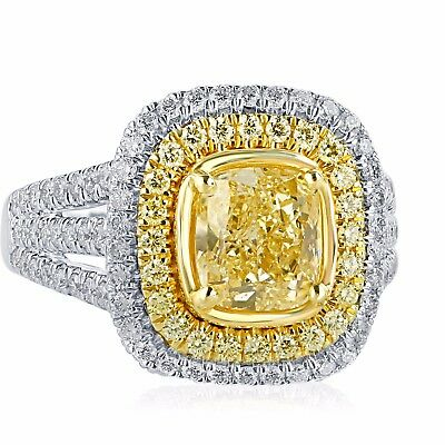 3 Carat GIA Certified Fancy Light Yellow VS2 Cushion Cut Diamond Engagement Ring