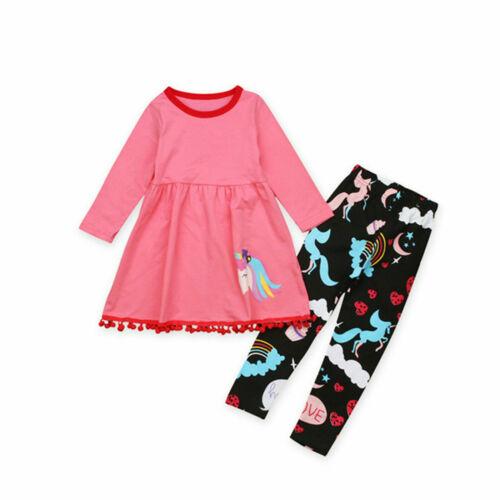 2PCS Unicorn Kids Girls Tshirt Tops Dress Long Pants Outfits Baby Clothes Set