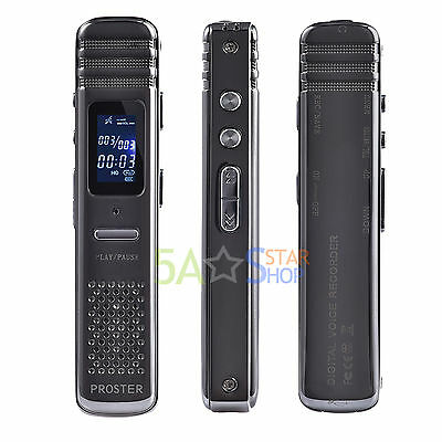 Digital Voice Recorder Audio Spy VOR Dictaphone Meeting MP3 Music Player 8GB