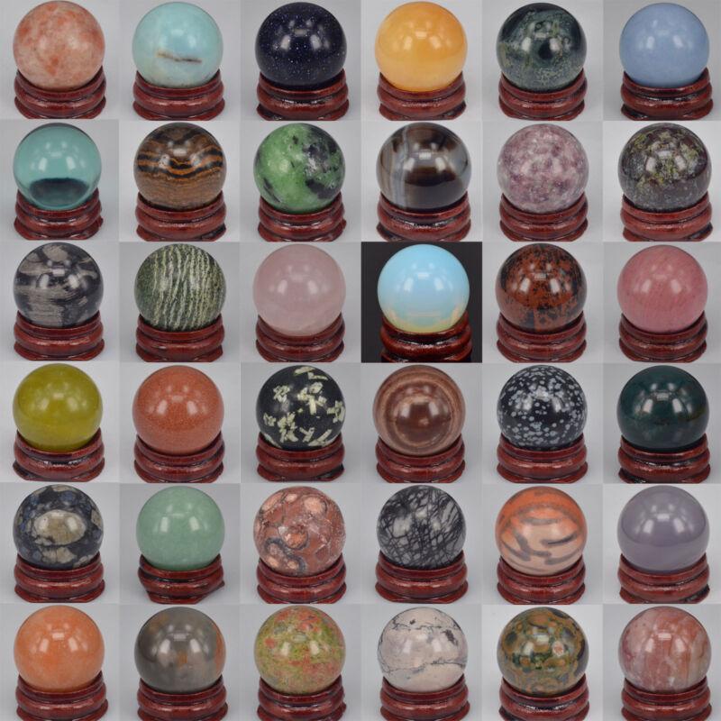 30MM Wholesale Lots Mix Natural Gemstone Sphere Crystal Ball Reiki Healing Globe